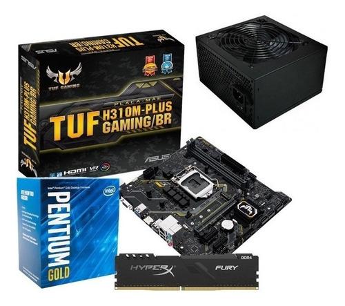 Imagem 1 de 7 de Kit Processador Intel Pentium G5400 Tuf-h310m 4gb Fonte 350w