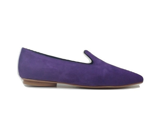 Zapato Mujer Mocasín En Punta Natacha Gamuza Violeta #141