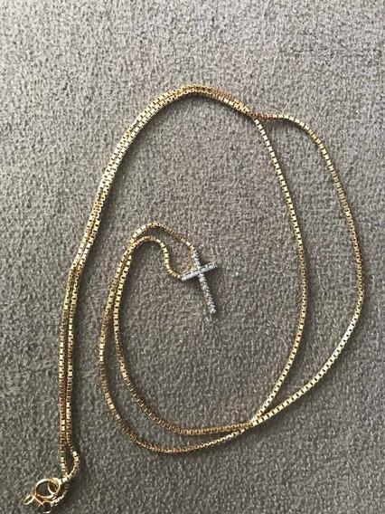 Colar De Ouro 18k Quevedo + Pingente De Ouro C/ 12 Diamantes