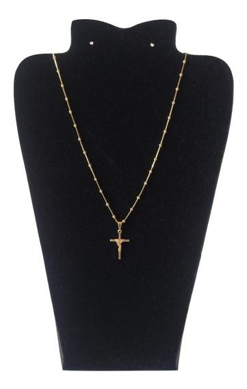 Cordão Folheado A Ouro Feminino 45 Cm + Cruz Com Garantia