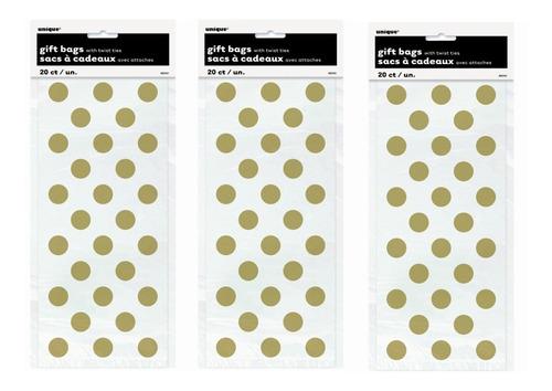 Imagen 1 de 3 de 60 Bolsas Bolsitas Celofan Oro Puntos Polka Dots Dulcero Un