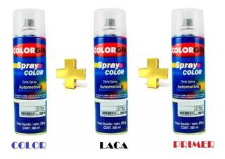 Pintura Bicapa Autos Aerosol Retoque Color + Laca + Primer