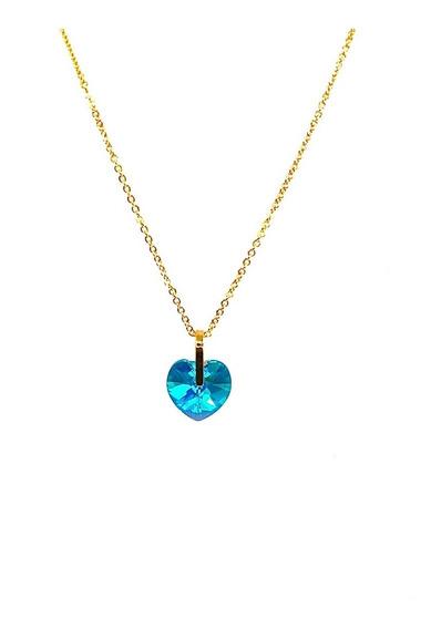 Collar Dije Corazon Swarovski Verde Chapa Oro Joyeria Vogary