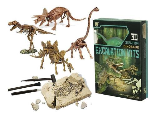 Imagen 1 de 1 de Kit Excavación Grande Con Dinosaurios 3d Paleontología Edu