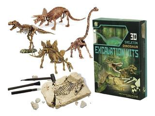 Kit Excavación Grande Con Dinosaurios 3d Paleontología Edu