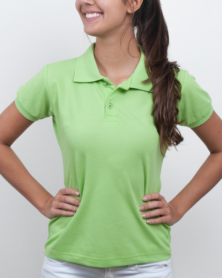 Kit 8 Camisa Gola Polo Feminina Baby Look Camiseta