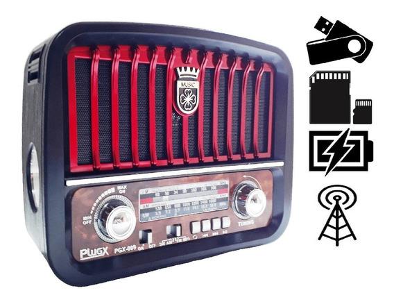 Radio Classico Moderno Lux Am Fm Usb Pilha Energia Bateria!!