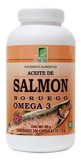 All Nature Aceite De Salmón Noruego Omega 3 Con 300 Cápsulas