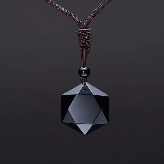 Colar Masculino Cordão Estrela Pedra Obsidiana Amuleto