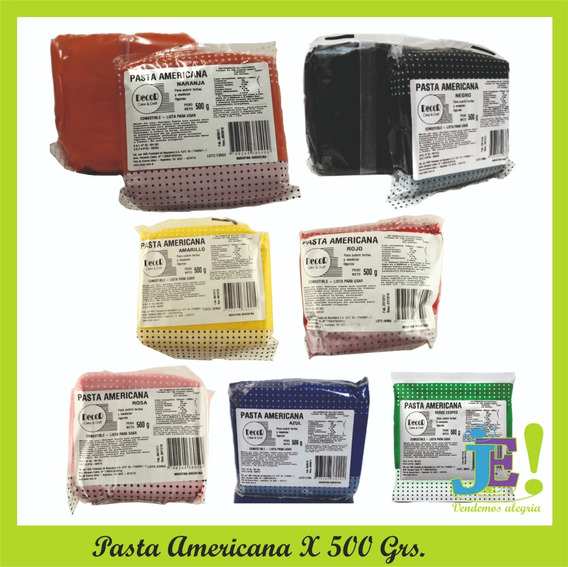 Pasta Americana Decor X 500 Grs ¡color! ***super Oferta***