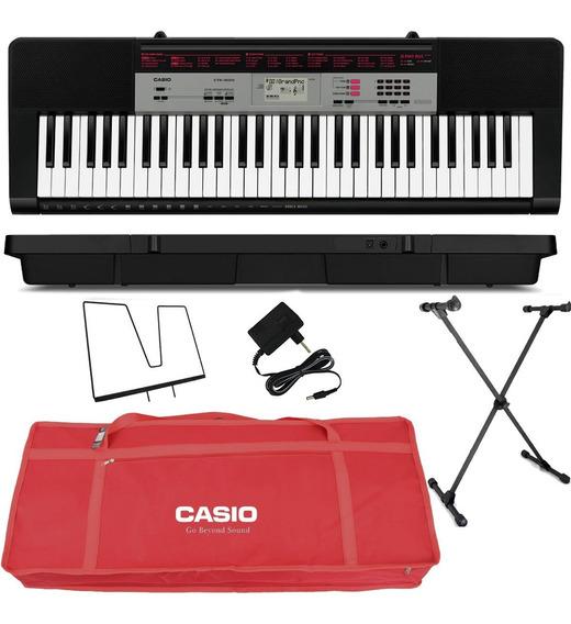 Kit Teclado Musical Digital 61 Teclas Ctk1500 Casio Vermelho