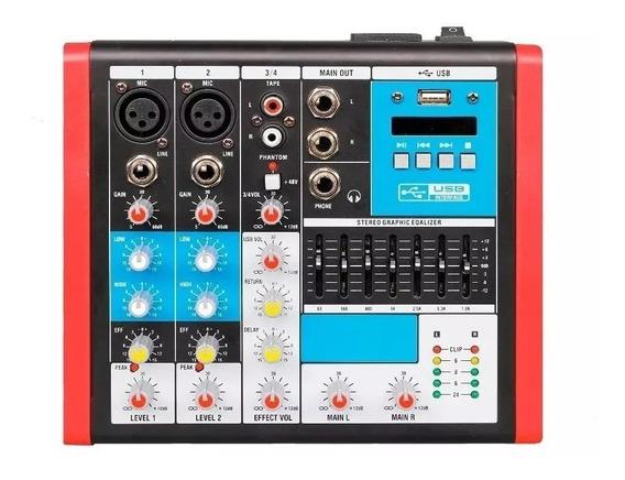 Mesa Som 4 Canais Mc4 Eux Mixer Usb Equalizador Soundvoice