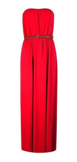 Vestido Largo Strapless Rojo