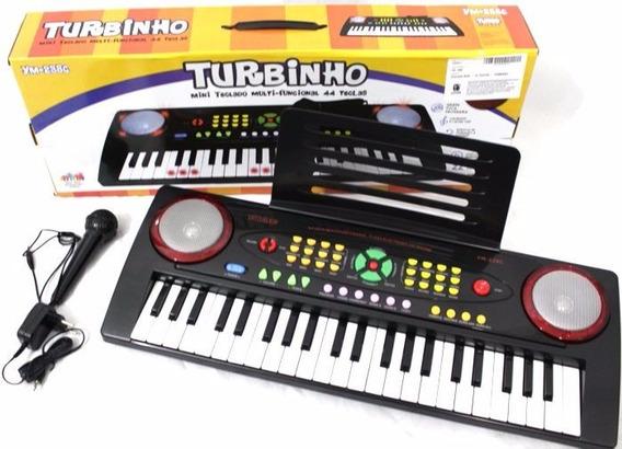 Teclado Turbinho Infantil Com Microfone 44 Teclas Ym-238c