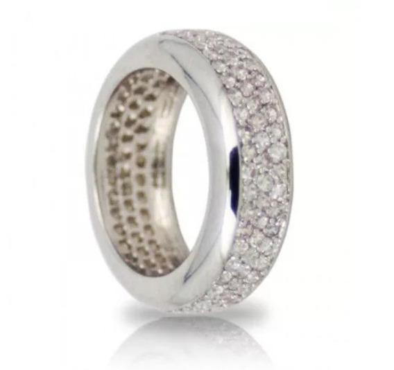 Anel/aliança Pavê De Ouro 18k Mais Diamantes