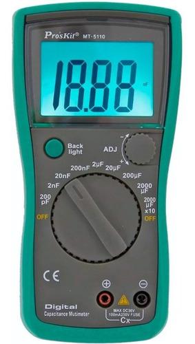 Imagen 1 de 6 de Capacimetro Tester Digital Proskit Mt-5110 Hasta 20000µf