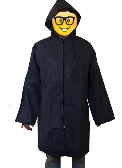 Impermeable Poncho Con Cierre Negro Grueso