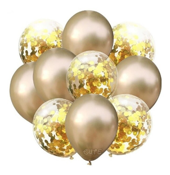 10 Globos Metálicos Y Transparentes Confeti Decoración Dorad