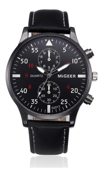Relógio Social Masculino Pulseira De Couro Militar Original Migeer 2013 Original Promoção