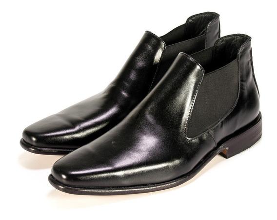 Botita Elástico Hogh Vestir Cuero Premium Negro Sin Cordones