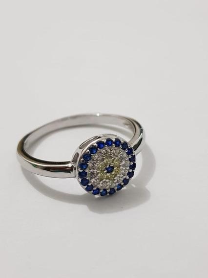 Anel Zircônia Olho Grego Azul/branca Prata 925