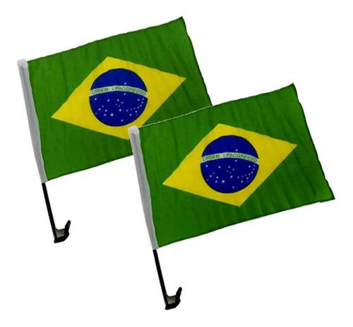 Imagem 1 de 3 de Kit 2 Bandeiras Do Brasil Em Tecido Para Carro