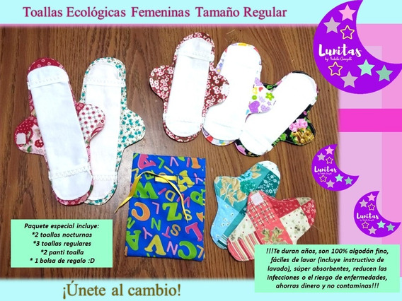 Kit Toallas Femeninas Ecológicas Lunitas - Bolsita Gratis