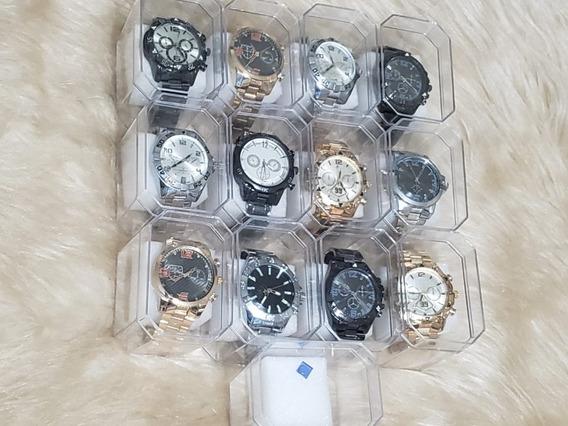 Kit 10 Relógios De Aço Pronta Entrega + Caixa E Bateria