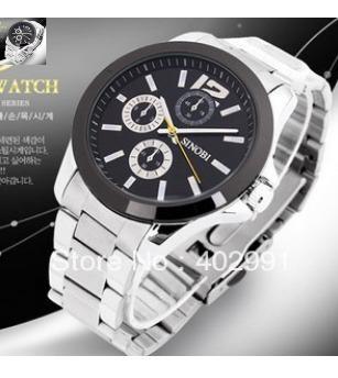 Relógio Sinobi 9123 Aço Inoxidável, Analógico Impermeável