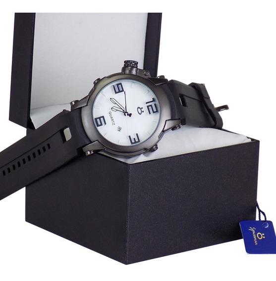 Relógio Original Pulseira De Borracha Preto Frete Grátis