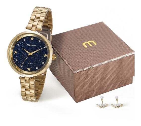 Relógio Feminino Dourado Kit Brincos Pérolas 99260lpmvde1kz