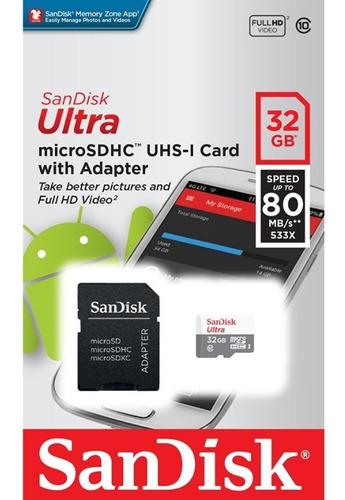Cartão Memória Micro Ultra 32gb Classe 10 80mb/s Original