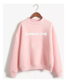 Blusa Moletom Gola Redonda Banda Coreana Wanna One Logo