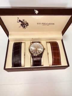 Relógio Polo Us Assn Importado Eua Kit Com 2 Pulseiras