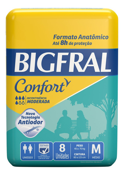 Fralda Geriátrica Bigfral Confort M - 8 Unidades