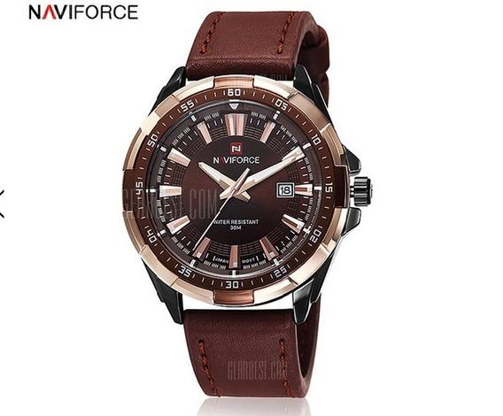 Relógio Masculino Naviforce 9056. Pulseira De Couro.