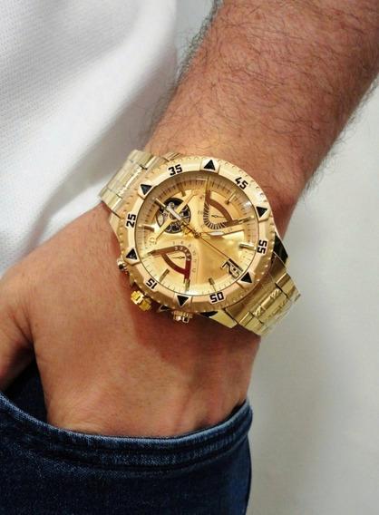 Relógio Prata Masculino Grande Barato Pesado + Frete Grátis