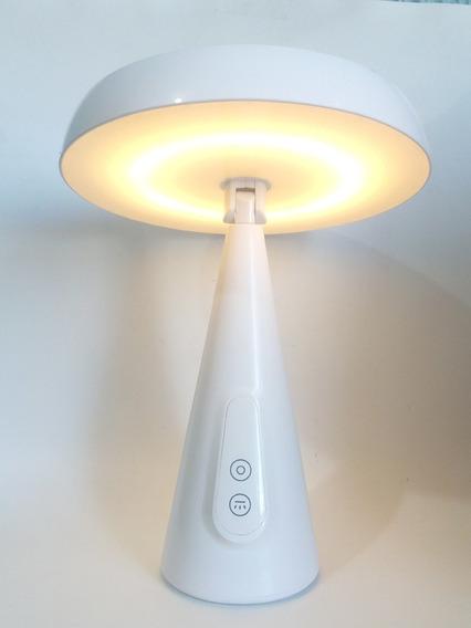 Luminária De Mesa C/ Espelho Recarregável Giratória Luz Led