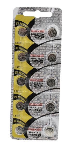 10 Baterias Pilha Maxell 395 Sr 927 Bateria Original Relógio
