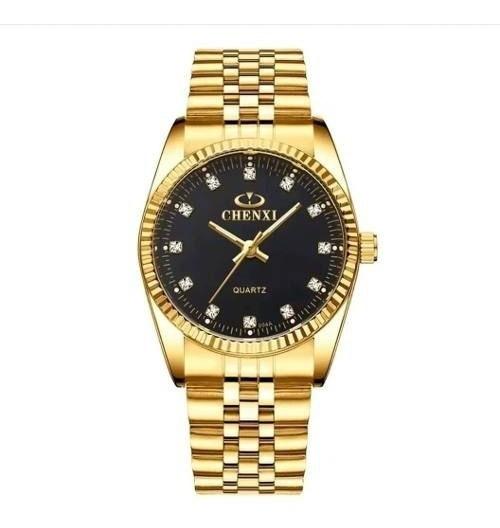 Relógio Feminino Grande Chenxi Dourado Prata 4cm 3atm