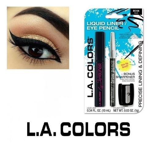 Kit De Delineador Liquido La Colors + Lapiz + Sacapuntas