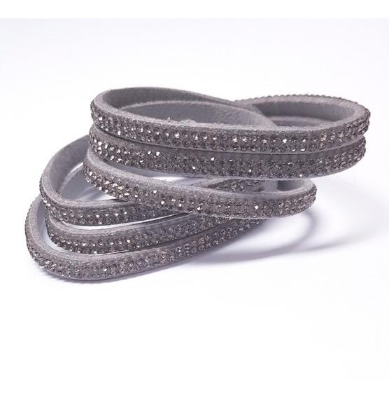 Bracelete Modelo Slake Em Camurça 2 Voltas Com Cristais