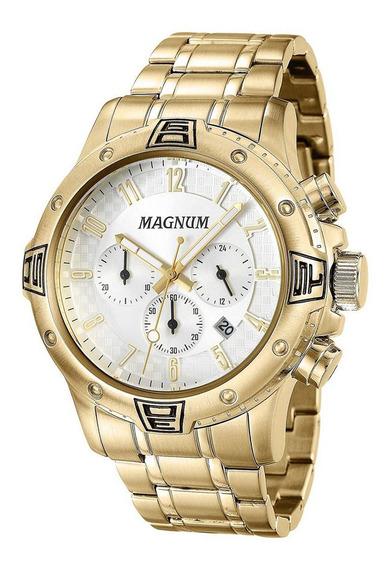Relógio Magnum Masculino Cronógrafo Marrom Ma34932o Relógio