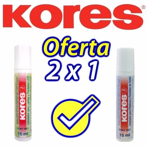 2x1 Kores Limpiador Pantalla Lcd Celular Cristal Plastico