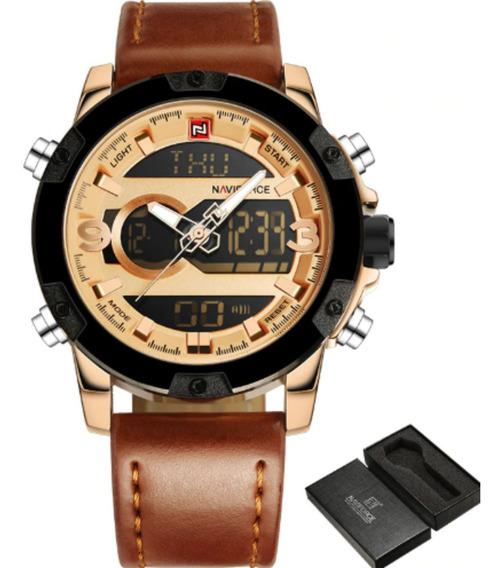 Relógio Masculino Luxo Naviforce 9097 Original Couro + Caixa