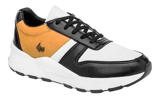 Tenis Ferrioni H98-002-03 Negro-blanco-amarillo Caballero Oi