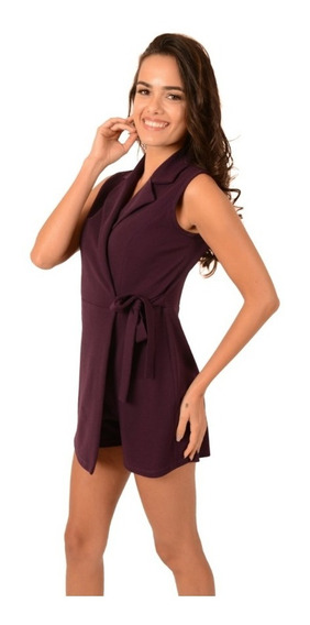 Romper Short Dama Mujer Casual Color Uva Ajuste En Cintura