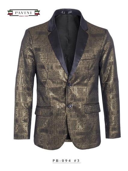 Saco Premium Caballero Marca Pavini Dorado/negro Pb094-1