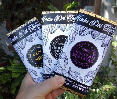 Pack 6 Chocolate (600 Gr)96% Cacao Nibs Stevia Almendra Keto