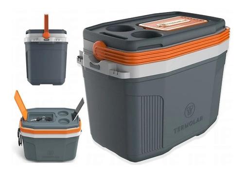 Caixa Térmica Suv 20 Litros Cooler Termolar Cinza E Laranja
